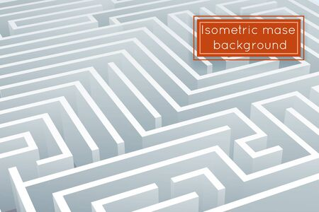 Maze intricacy labyrinth isometric background 3d design template vector illustration