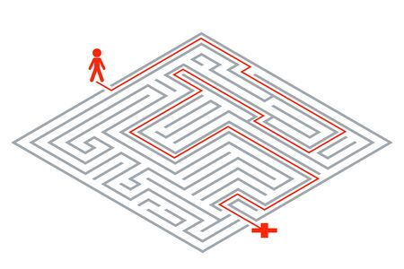 Pass way intricacy labyrinth isometric maze 3d design template vector illustration.