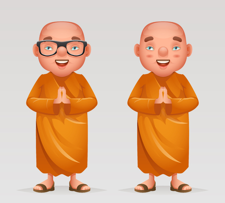 Cute buddhist monk traditional asian buddhism culture religion cartoon 3d character realistic design vector illustration