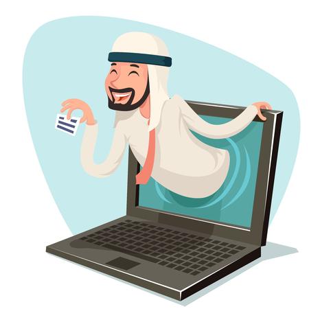 laptop internet arab businessman call card agent online presentation advertisement computer monitor cartoon character design vector illustration Illustration