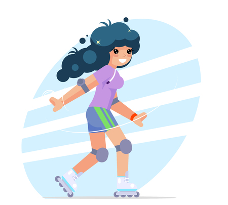 Roller girl cute flat design character vector illustration.