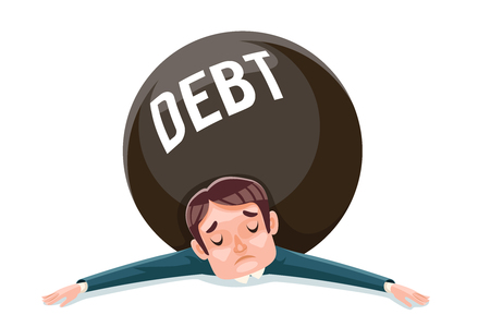 Debt squashed crushed businessman wretched miserable character cartoon vector illustration Stock Illustratie