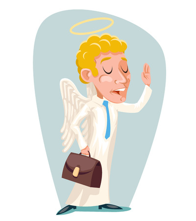 Businessman angel character icon design