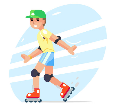 Roller boy flat character design vector illustration.