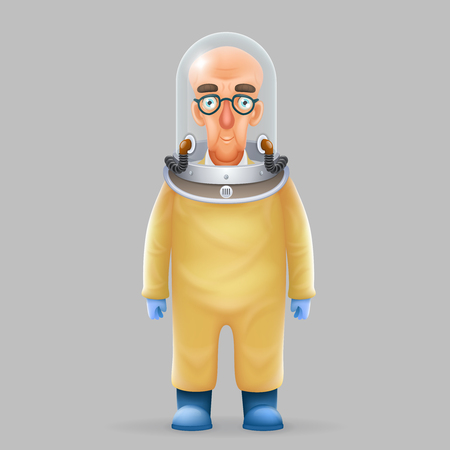 Chemical protection overalls bald scientist avatar realistic helmet 3d glass design vector illustration