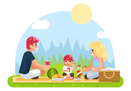 weekend family vacation nature food flat design vector illustration