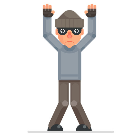 Hands up surrender caught evil greedily thief cartoon rogue bulgar character captured flat design isolated vector illustration