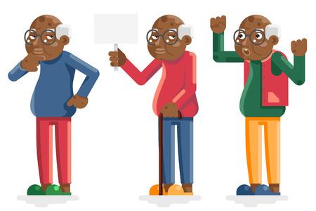 Afrikaanse oude man Amerikaanse Europese volwassen grootvader tekens geïsoleerd decor plat ontwerp. Vector Illustratie