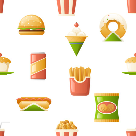Seamless pattern fast food icons symbols, isolated flat design template.