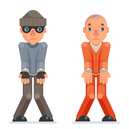 Arrested thief prisoner criminal hands handcuff caught evil greedily cartoon rogue captured character flat design isolated vector illustration