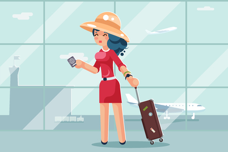 Travel cute woman suitcase passport airport background flat design vector illustration
