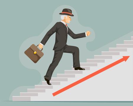 Businessman gentleman adult goes success ladder steps arrow flat design vector illustration 일러스트