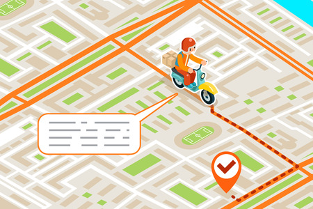 Isometric delivery city street road map urban landmark place town 3d flat design vector illustration
