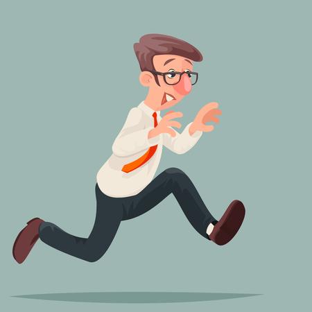 Running zakenman haast rush race inspiratie snelheid karakter cartoon ontwerp vectorillustratie