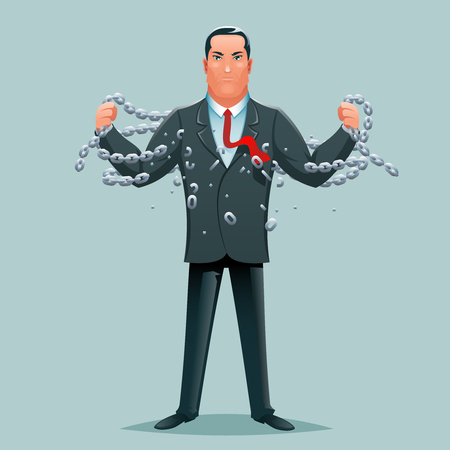 Release breaking chains liberation strength cartoon character design business concept vector illustration-800 矢量图像