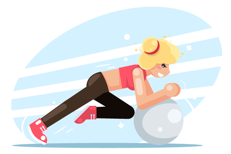Girl fitball fitness women health exercise female sport flat design vector illustration