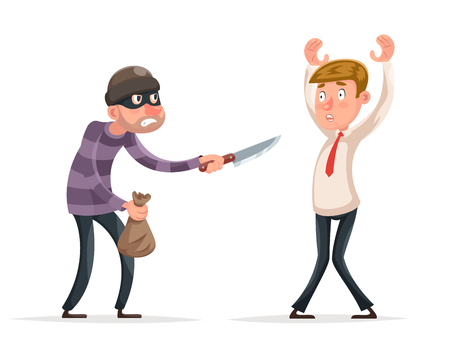 Robbery thief robber burglar steal money bag helpless scared businessman guy man character icon isolated cartoon design vector illustration. Stock Illustratie