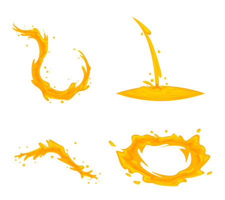 Oil flowing splash drop wave vortex whirlpool cartoon icon set, isolated design. Vettoriali