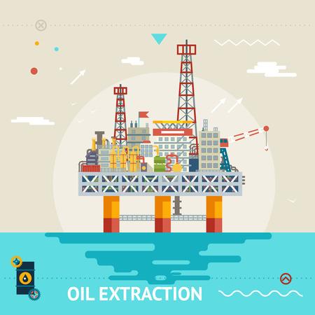 Oil production offshore platform, colloquially mineral rig ocean sea extraction. Flat design vector illustration. Ilustração
