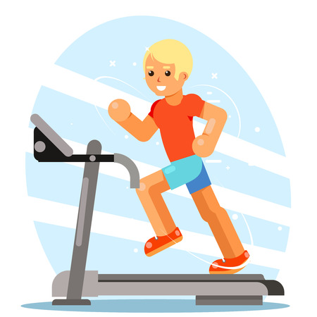 Strong man running treadmill simulator fitness concept flat design vector illustration
