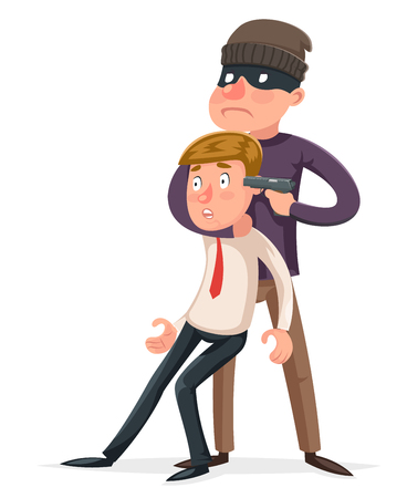 Hostage criminal thief gun character crime threat buyout request icon cartoon design vector illustration Çizim