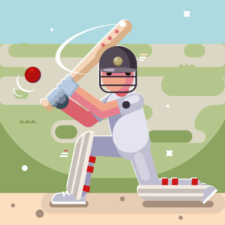 Batting sport game cricket batsman baseball bat ball field character flat design Illustration
