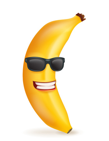 Smiling banana cartoon character sunglasses 3d food icon design vector illustration