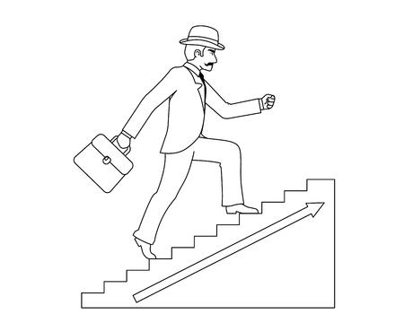 Lineart up stairs old businessman gentleman adult goes success ladder steps business design vector illustration
