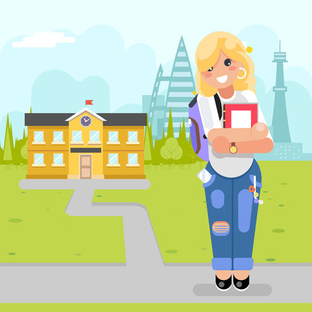 Student cute girl young modern fashion book goes to university study courses flat design vector illustration