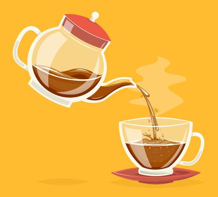 Versare la bevanda del caffè dalla teiera di vetro flusso d'acqua flusso retrò vintage icona del fumetto design illustrazione vettoriale