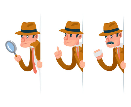 Snoop detective magnifying glass tec peeking out corner search help noir cartoon character design isolated set vector illustration