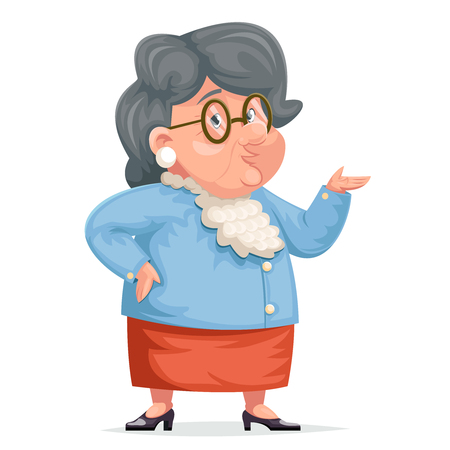 Grandmother talking old wise woman granny character adult icont cartoon design vector illustration