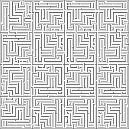 Abstract intricacy labyrinth monochromatic maze geometric background design template vector illustration
