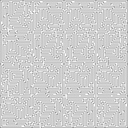 Abstract intricacy labyrinth maze monochromatic geometric background design template vector illustration