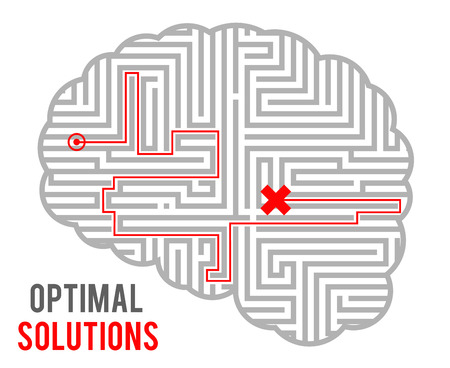Brain intricacy optimal decision making solutions abstract labyrinth maze monochromatic geometric background design template vector illustration  イラスト・ベクター素材