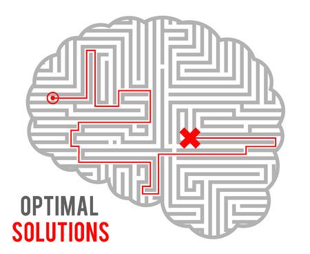 Hersenen complexiteit optimale besluitvorming oplossingen abstract labyrint doolhof monochromatisch geometrische achtergrond ontwerpsjabloon vectorillustratie Vector Illustratie