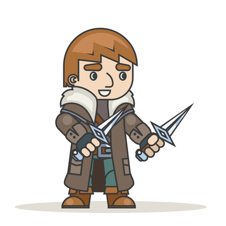 Outlaw assassin thief burglar mugger fantasy medieval action RPG character game isolated icon vector illustration