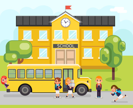 School bus boy girls education pupil building student knowledge child flat design vector illustration