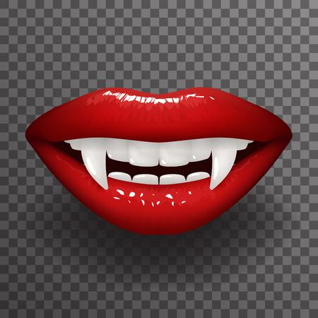 Los labios de la mujer elegante del diente del vampiro abren ligeramente la ilustración del vector del diseño del fondo transparente de la maqueta de la moda de la boca