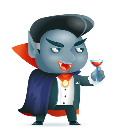 Vampire halloween children costume kid masquerade fantasy RPG game character vector illustration Vectores