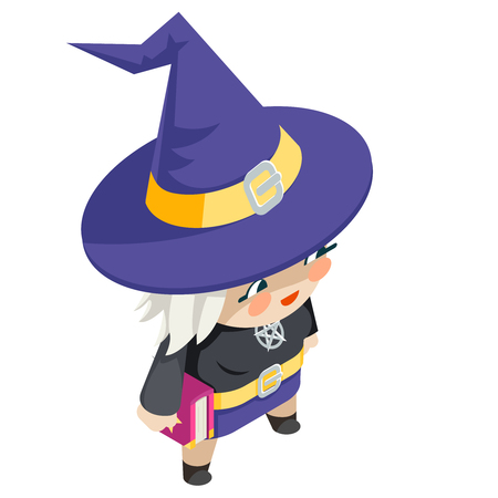 Cute witch girl isometric costume halloween children masquerade party character kid flat design vector illustration