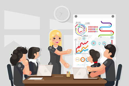 Business meeting coaching solution ideas searching flat design vector illustration