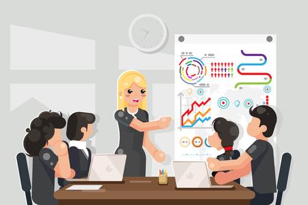 Ideas de soluciones de coaching para reuniones de negocios que buscan ilustración de vector de diseño plano