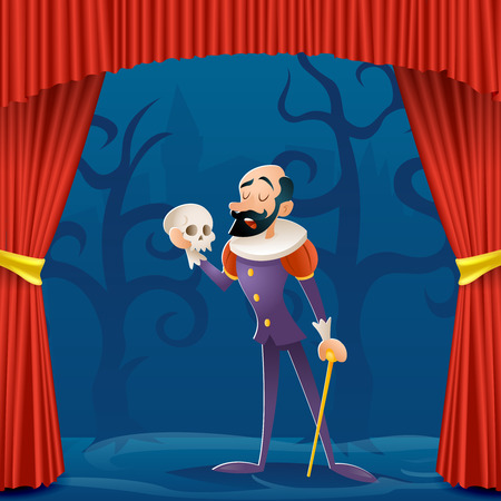 Actor man medieval suit tragic curtains theater stage cartoon character design vector illustration