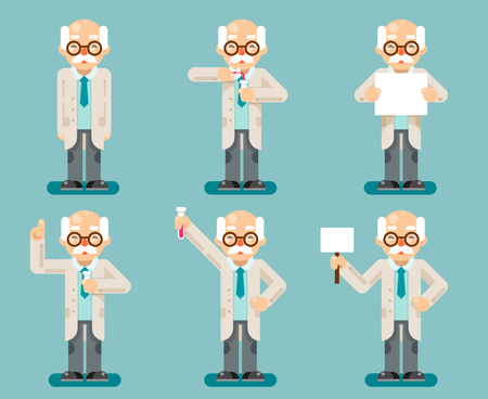 Experiment old wise smart scientist test chemical tubes cartoon flat design icons set vector illustration