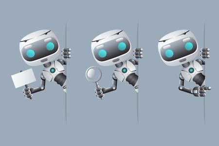 Lindo robot mira el cartel de la esquina en la mano apuntando en la bandera sostenga la lupa tecnología ciencia ficción futura pequeña venta diseño 3d ilustración vectorial Ilustración de vector