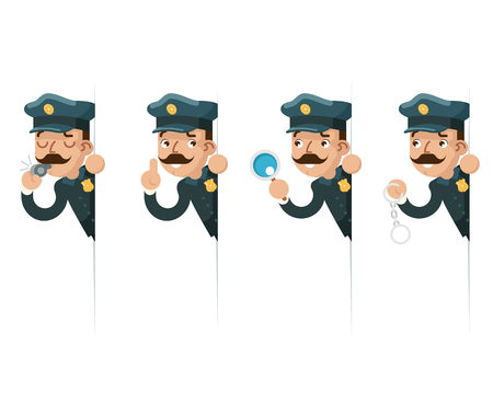 Policeman detective magnifying glass handcuffs police whistle look peeking out of corner cartoon flat design vector illustration