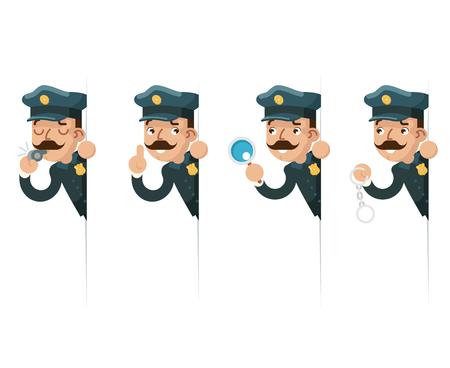 Politieagent detective vergrootglas handboeien politie fluitje kijken gluren uit hoek cartoon platte ontwerp vectorillustratie