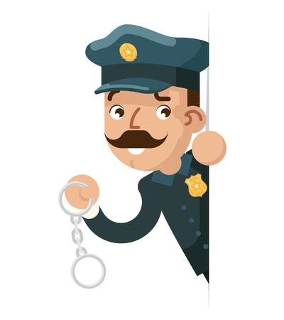 Politieagent detective handboeien kijken gluren uit hoek cartoon politie platte ontwerp vectorillustratie