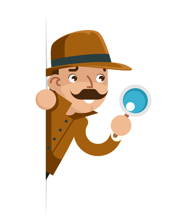 Snoop detective magnifying glass look peeking out of corner cartoon flat design vector illustration Vektoros illusztráció